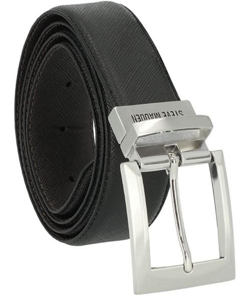Men Belt Steve Madden Reversible Edge Stitch Black