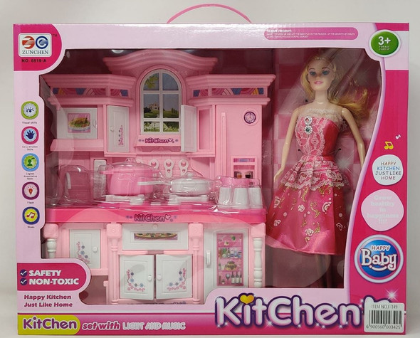Toy Kitchen Set With Light And Music Happy Baby Play Set F-149