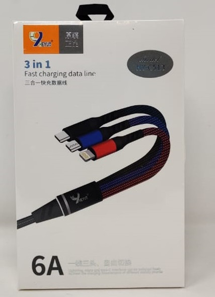 CABLE USB 3 IN 1 HEYU HY-C513 6A