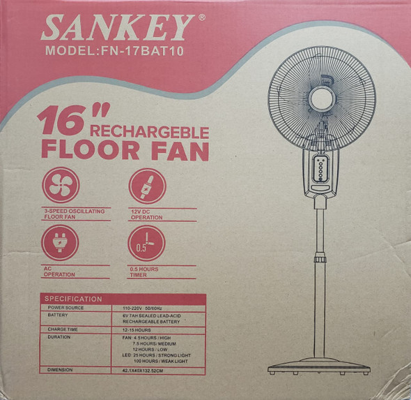 "FAN 16"" SANKEY FN-17BAT10 RECHARGEABLE FLOOR"