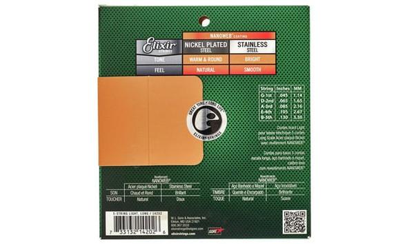 GUITAR STRING ELIXIR 14777 BASS S/S 5ST LIG