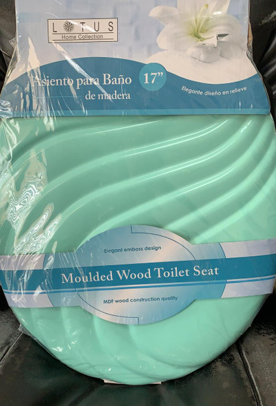 TOILET SEAT LOTUS WOOD #LT-7052G W/WAVE GREEN