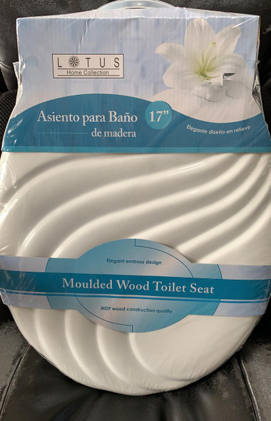 TOILET SEAT LOTUS WOOD #LT-7050W W/WAVE WHITE