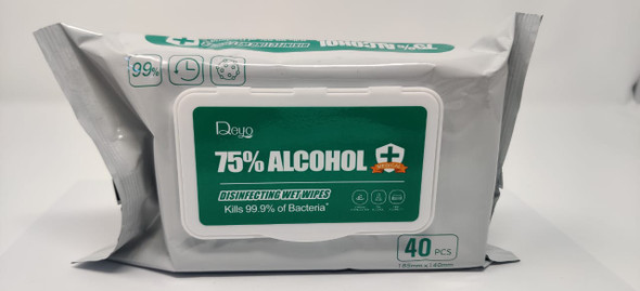 WET WIPES DISINFECTING 75% ALCOHOL 40PCS