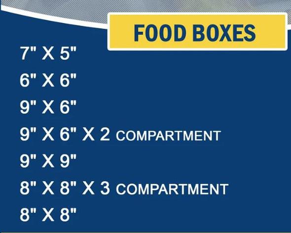"FOOD BOX BIODEGRADABLE 7"" X 5"" 50PCS PACK 1 COMPARMENT"