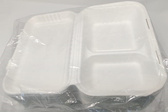 "FOOD BOX BIODEGRADABLE 9"" X 6"" 50PCS PACK 2 COMPARMENT"