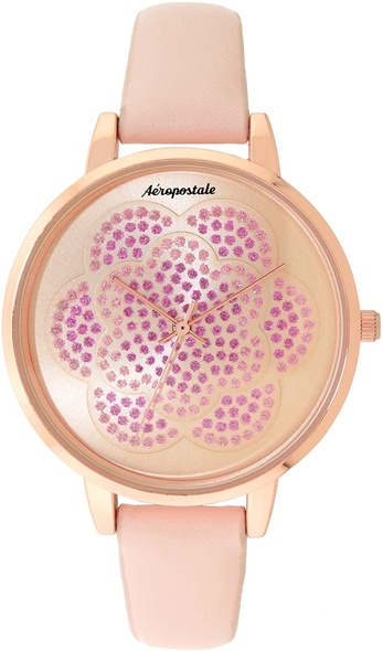 Watch Women Aéropostale Quartz Rose Gold Metal Watch Flower Spiral Dial Pink Leather Strap