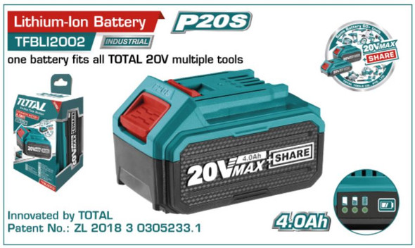 BATTERY PACK 20V 4.0Ah TOTAL TFBLI2002 LITHIUM-ION