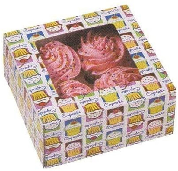 "BAKING WILTON CUPCAKE BOXES 3PCS 6.25""X6.25""X3"" HOLDS 4 CUPCAKES 415-1206"