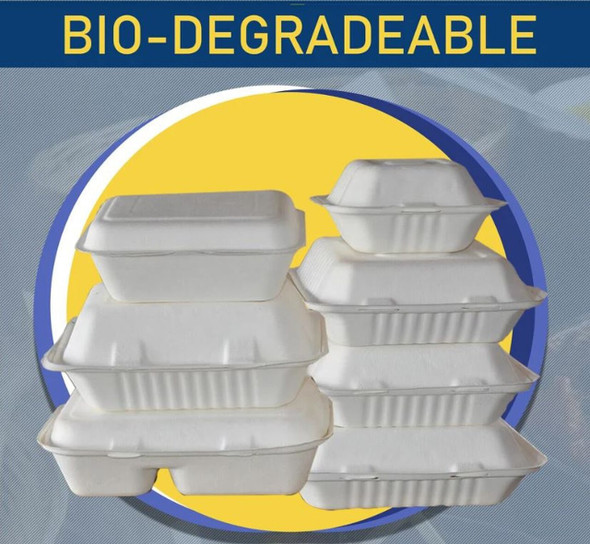 "FOOD BOX BIODEGRADABLE 9"" X 9"" 50PCS PACK 1 COMPARMENT"
