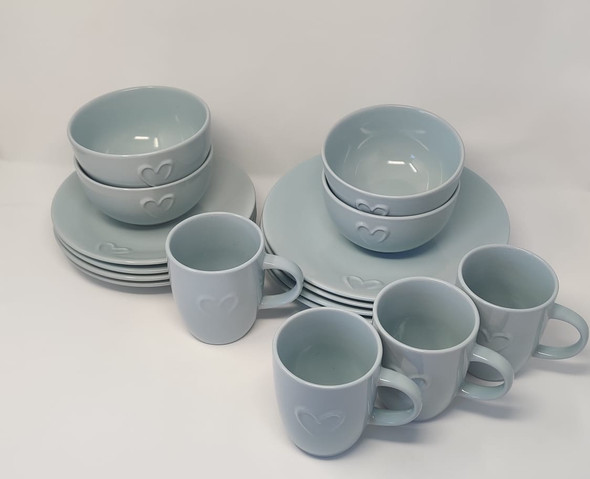 DINNER SET 16PCS ROUND STONEWARE WITH HEART