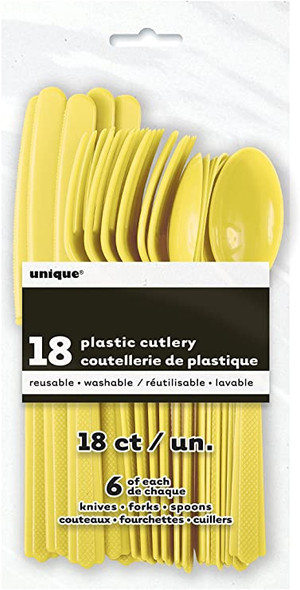 PARTY PLASTIC CUTLERY 18PCS PACK UNIQUE 6 OF EACH KNIFE - FORKS - SPOONS