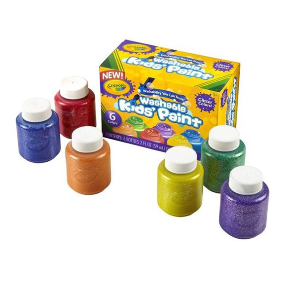 ARTIST PAINT CRAYOLA WASHABLE 6 COLORS GLITTER