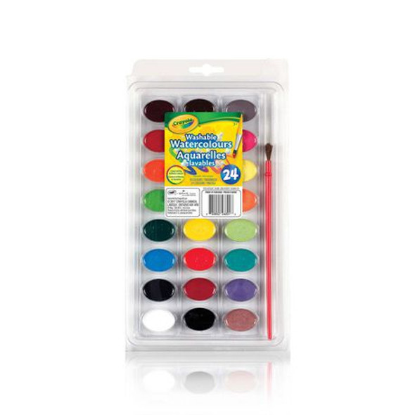 ARTIST PAINT CRAYOLA WASHABLE 24 COLORS WITH BRUSH WATERCOLOURS