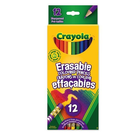 CRAYON CRAYOLA 12PCS PACK COLORED PENCILS ERASABLE
