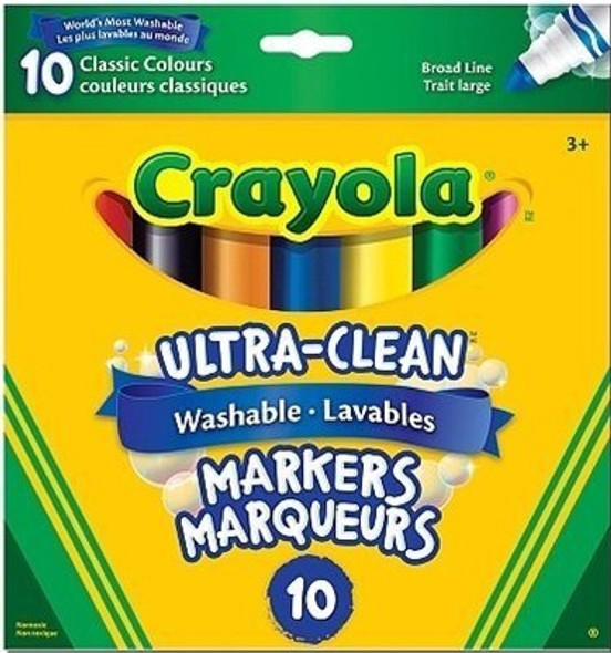MARKERS CRAYOLA ULTRA-CLEAN WASHABLE 10 COLOR