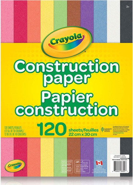 CONSTRUCTION PAPER CRAYOLA 120 SHEETS 22CM X 30CM