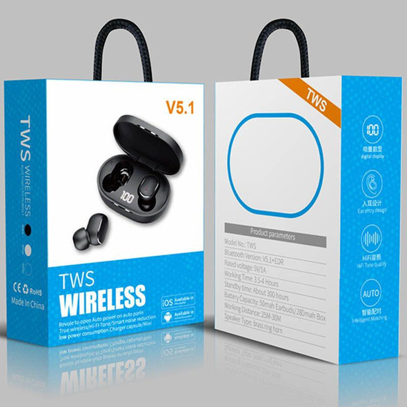 EARPIECE BLUETOOTH V5.1 TWS EARBUDS  WITH CHARGING CASE