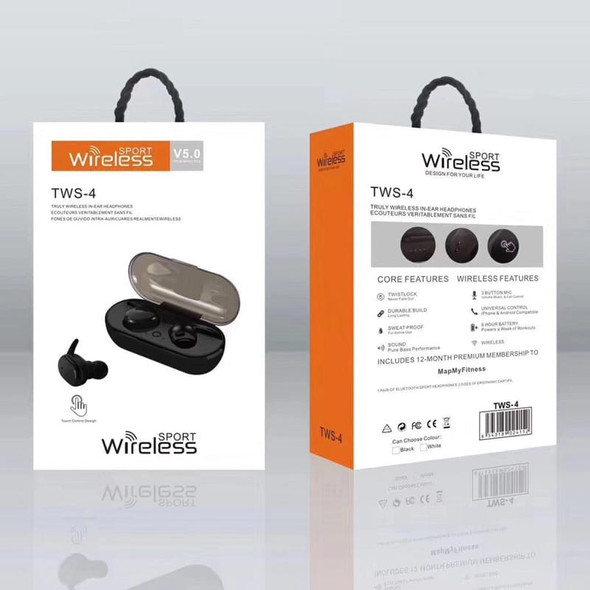 EARPIECE BLUETOOTH TWS-4 EARBUDS WITH CHARGING CASE