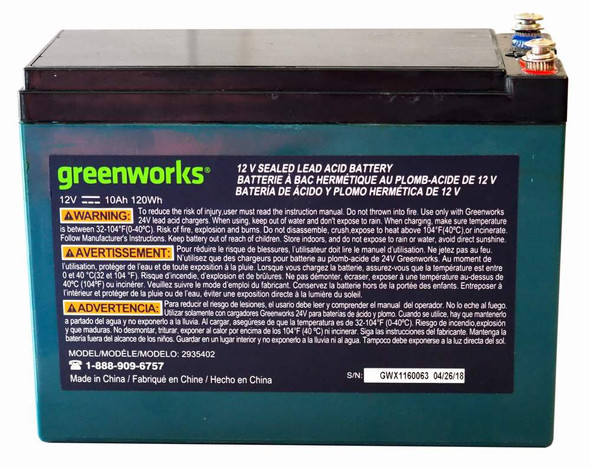 BATTERY RECHARGABLE 12V 10AH GREENWORKS 120WH
