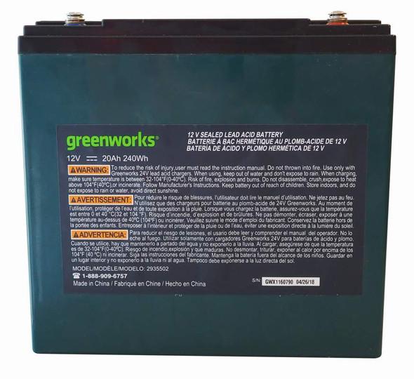 BATTERY RECHARGABLE 12V 20AH GREENWORKS 240WH