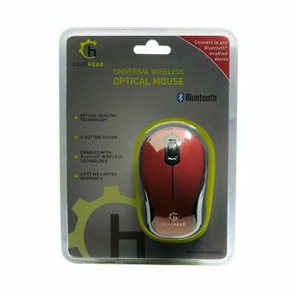 COMPUTER MOUSE WIRELESS BLUETOOTH GEARHEAD MBT9650RED