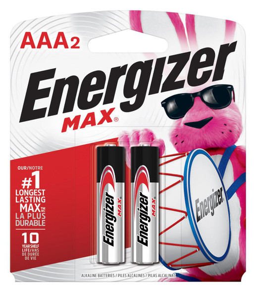 BATTERY ENERGIZER AAA MAX ALKALINE 2PK E92BP-2 AAA2