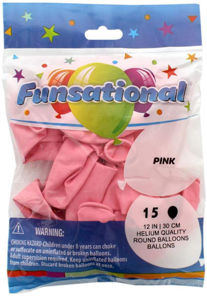 """PARTY BALLOONS FUNSATIONAL 12"""" 30CM 15PCS PACK HELIUM QUALITY ROUND"""