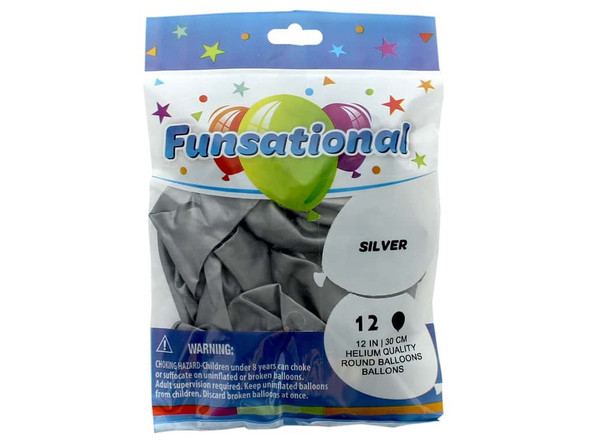 """PARTY BALLOONS FUNSATIONAL 12"""" 30CM 12PCS PACK HELIUM QUALITY ROUND"""