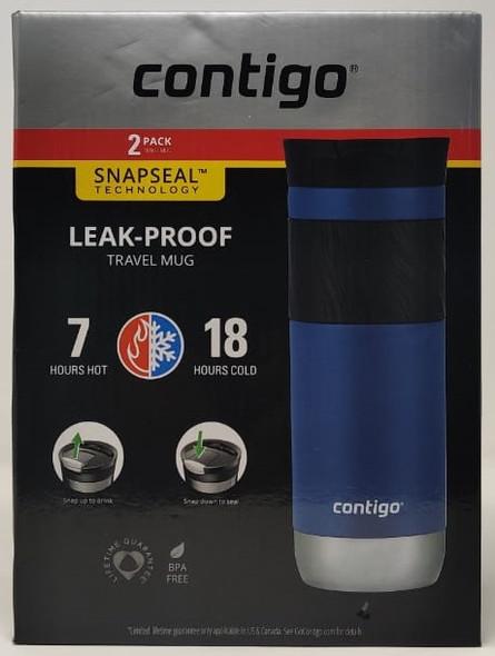 Travel Mug Contigo 2PCS PACK Snapseal Insulated Travel Mug, 20 oz, Sake/Blue corn
