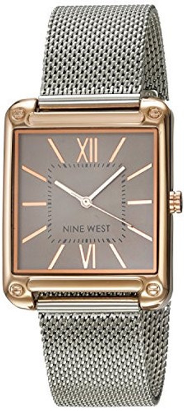 Watch Nine West Women Rose Gold-Tone and Silver-Tone Mesh Bracelet
