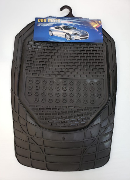 CAR MAT UNIVERSAL BLACK & SILVER 4PCS RUBBER NSC-2162