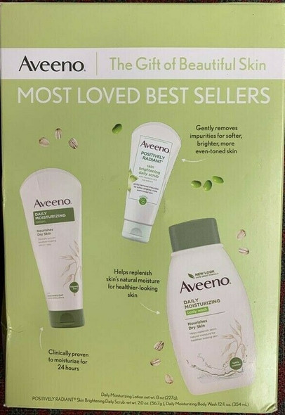 Lotion Set Women Aveeno Most Loved Best Sellers Gift Set Lotion Scrub & Body Wash