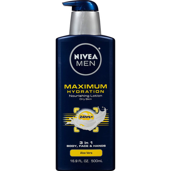 Lotion Set Nivea Men Maximum Hydration Essential Pack Body Wash and Shower Loofah Included - Two 16.9 fl oz Bottles