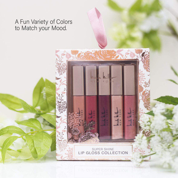 Makeup Lip Gloss Nicole Miller 5 Pack Super Shine Collection Gift Set with Five Different Shade Lip Glosses