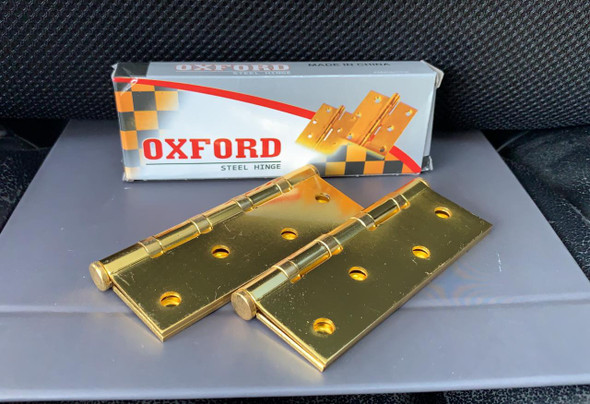 """BUTT HINGES 4"""" X 3"""" WITH SCREW OXFORD GOLD"""