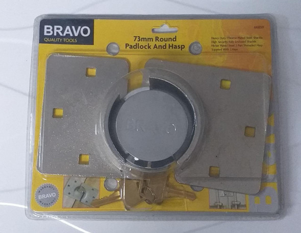 PADLOCK & HASP 73MM BRAVO #66859 HEAVY DUTY