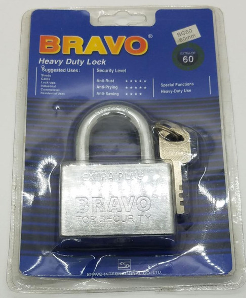 PADLOCK 60MM BRAVO H/DUT SHORT SHACKLE