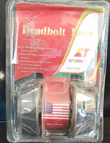 LOCK DEADBOLT DOUBLE SPARKS SILVER 7301P/S