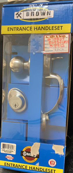 LOCK ENTRANCE SET BROWN USA BR8051 S/CHROME