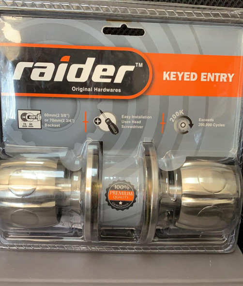 LOCK KNOB RAIDER SS KEYED #3571 SN/CP ML-ET