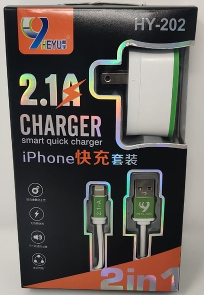 CHARGER CABLE USB HEYU HY-202 IPHONE LIGHTNING 2.1A