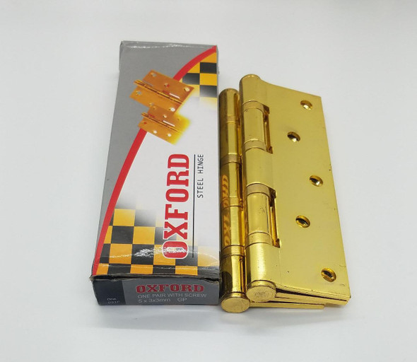 """BUTT HINGES 5"""" X 3"""" OXFORD WITH SCREW GOLD"""