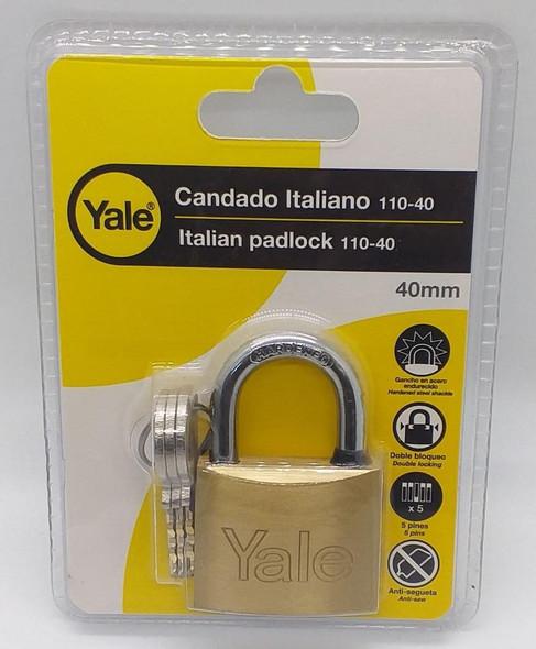 PADLOCK YALE 40MM Y110/40/123/1 PLASTIC CASE