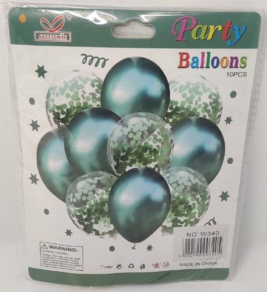PARTY BALLOONS WITH CONFETTI COLORED AND CLEAR KIT 10PCS PACK W340