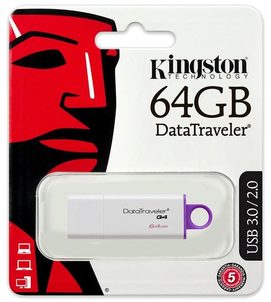 COMPUTER FLASH DRIVE 64GB KINGSTON USB G4 DATA TRAVELER DTIG4/64GB