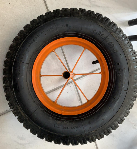 WHEEL BARROW WHEEL 4.80/4.00-8 6PR AIR ORANGE WITH SPINDLE SINGH SUNSET