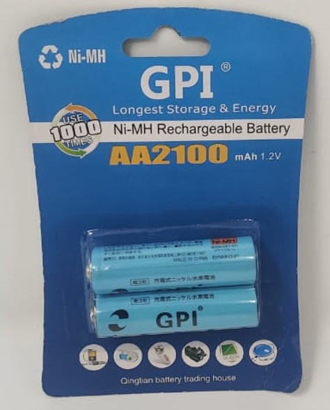 BATTERY GPI RECHARGEABLE AA 2100MAH 1.2V 2PCS PACK NI-MH
