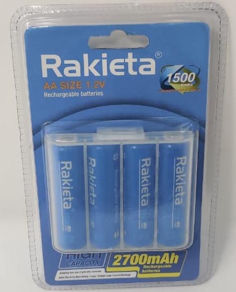 BATTERY RAKIETA RECHARGEABLE AA BLUE 2700MAH 1.2V 4PCS PACK