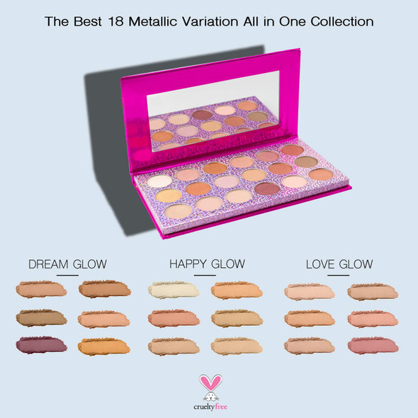 Makeup Nicole Miller Goal Digger Metallic Eye Shadow Palette with Mirror 18 Neutral Matte and Shimmery Shades